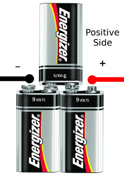 Interconnected 9 Volt Batteries