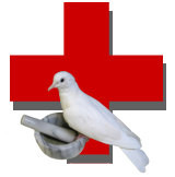 Red Cross with Dove Overlay