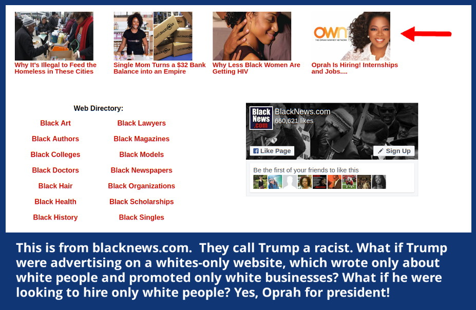 Graphic of Oprah's racist hiring practices at blacknews.com