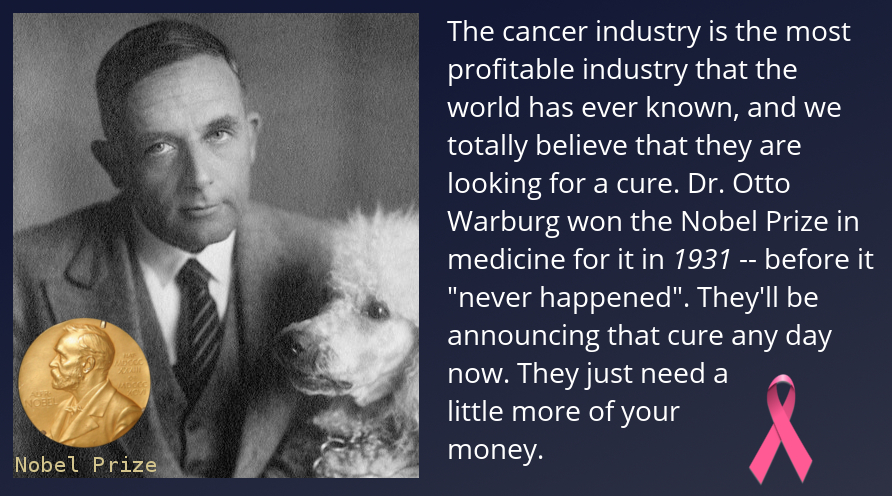 Meme about Otto Warburg and cancer
