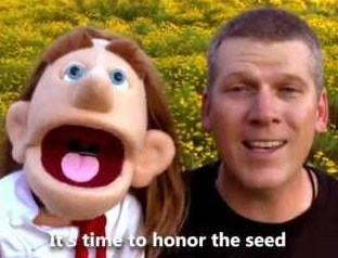 Mike Adams with a Puppet Honoring The Seed