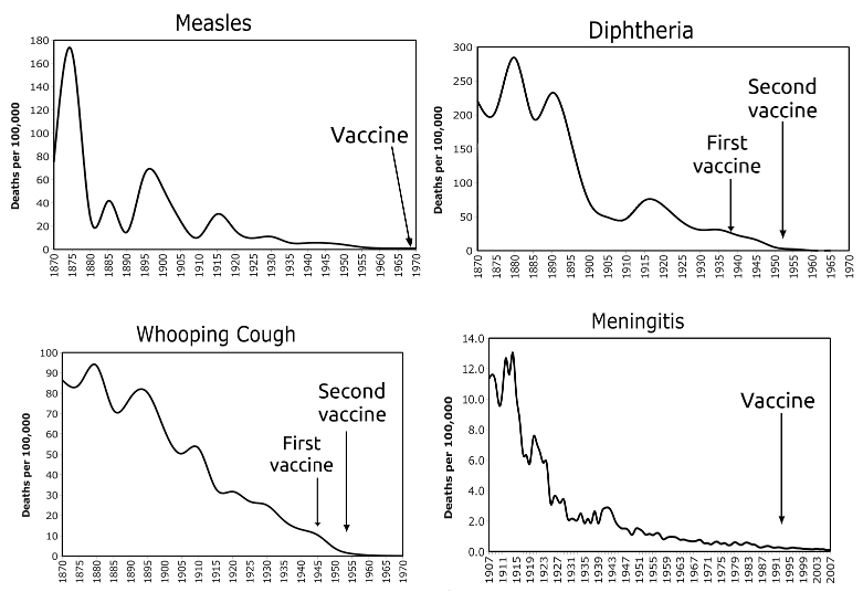 Vaccine chart showing disease die-off before vaccine introduction
